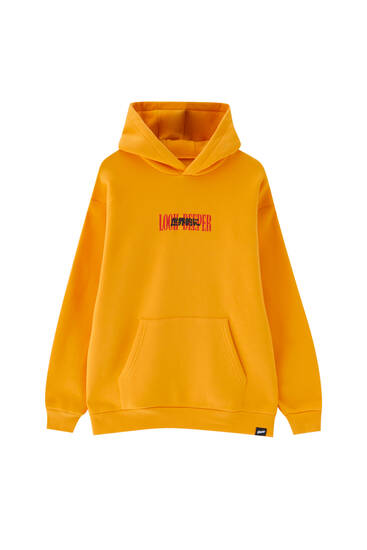 Sweat oversize à capuche jaune moutarde