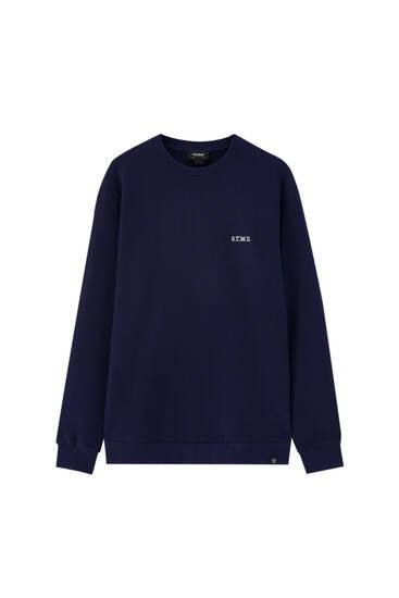Embroidered round neck sweatshirt