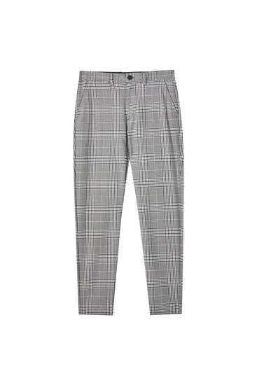 Grey tailored skinny fit checked trousers