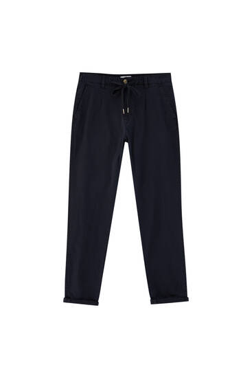 Slim fit chino trousers with accessory