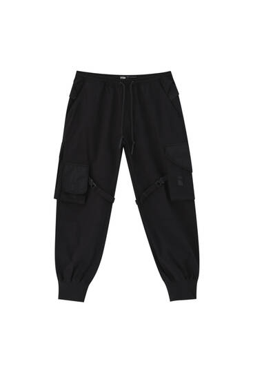 STWD black cargo trousers