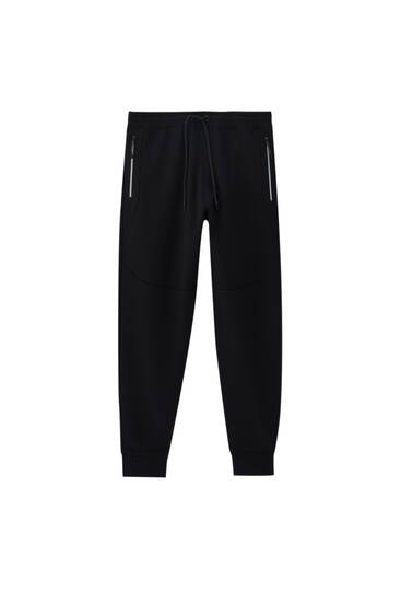 Joggers with contrast zip