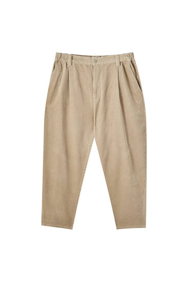 Corduroy loose fit trousers