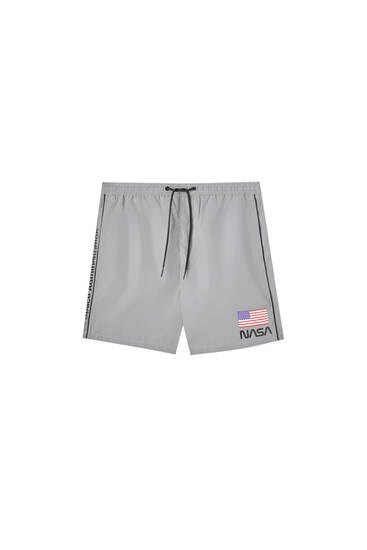 Grey reflective NASA Bermuda shorts