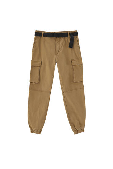 Belted cargo trousers with flap pockets