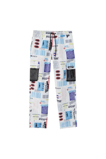 Cargo trousers with an all-over print