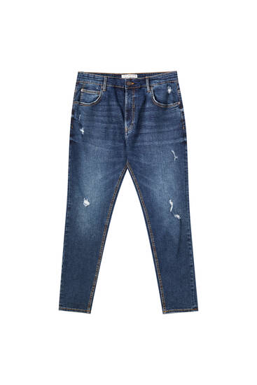 Medium blue ripped carrot fit jeans