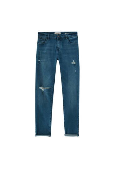 Τζιν παντελόνι skinny fit basic με σκισίματα - Με ανακυκλωμένο βαμβάκι