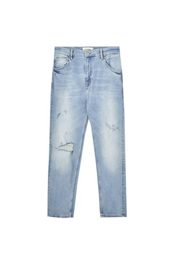 Skinny ripped carrot fit jeans