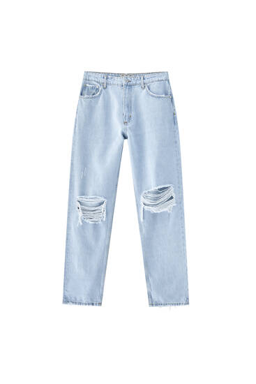 Ripped wide-leg jeans with knee patch