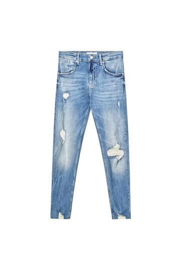 Τζιν παντελόνι skinny fit από ύφασμα premium με σκισίματα