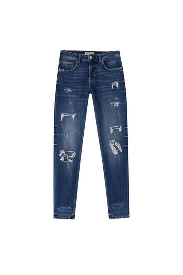 Τζιν παντελόνι skinny premium με σκισίματα
