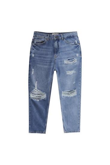 Τζιν παντελόνι relaxed fit με λεπτομέρεια από σκισίματα