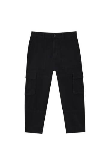 Чорні джинси-карго вільного крою
