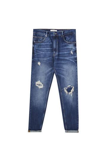 Τζιν παντελόνι σε γραμμή carrot premium με σκισίματα