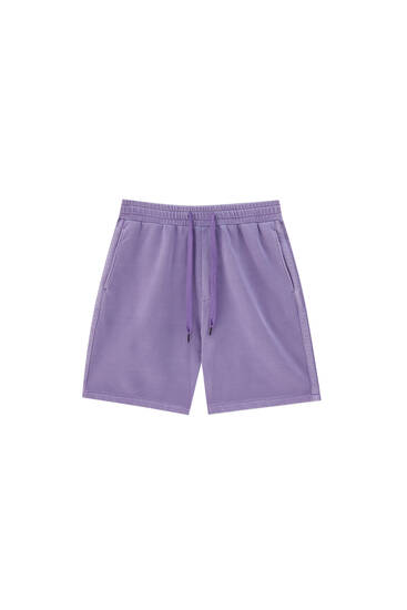 Garment-dyed Bermuda joggers