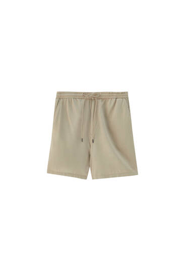 Linen Bermuda shorts with elastic waistband