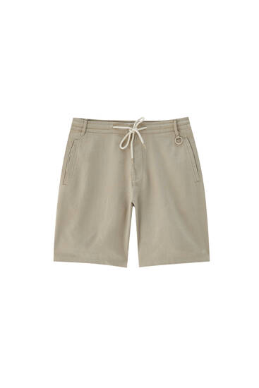 Linen Bermuda shorts with elastic drawstring waistband