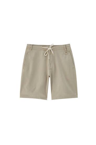 Linen blend Bermuda shorts with elasticated waistband