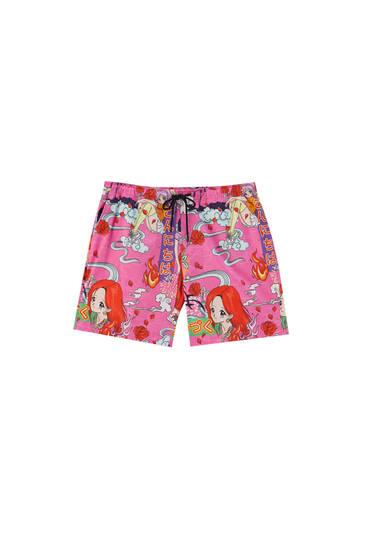 Bermudashorts med rosa mönster