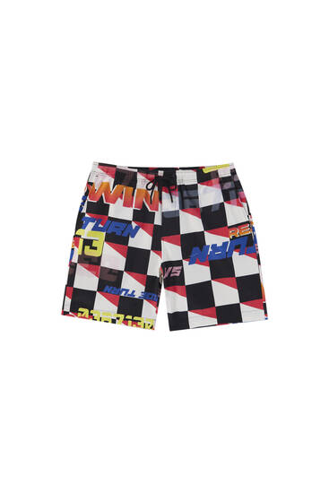 Racing print Bermuda shorts