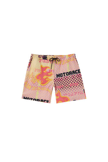 Fire racing print Bermuda shorts