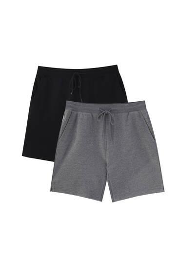Pack of 2 basic jogger Bermuda shorts