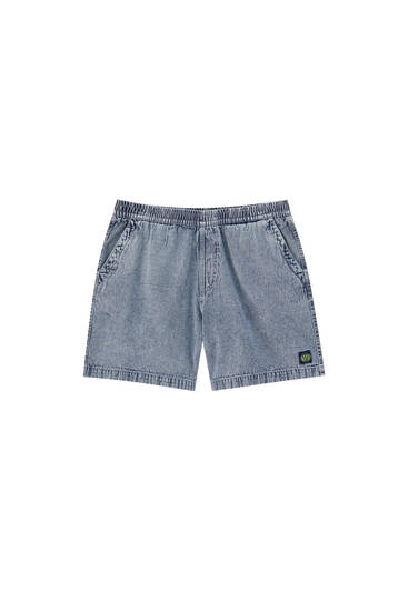 Denim Bermuda shorts with embroidered label detail