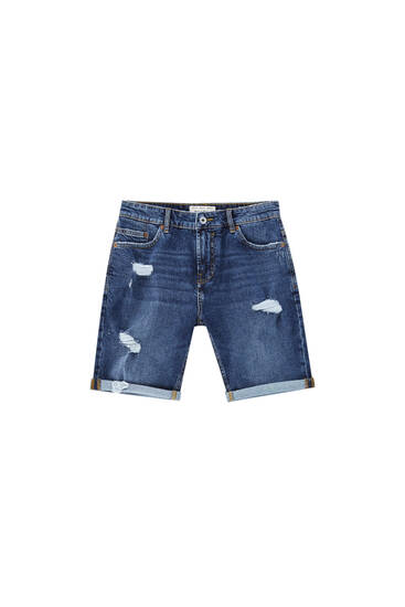 Blue ripped denim Bermuda shorts