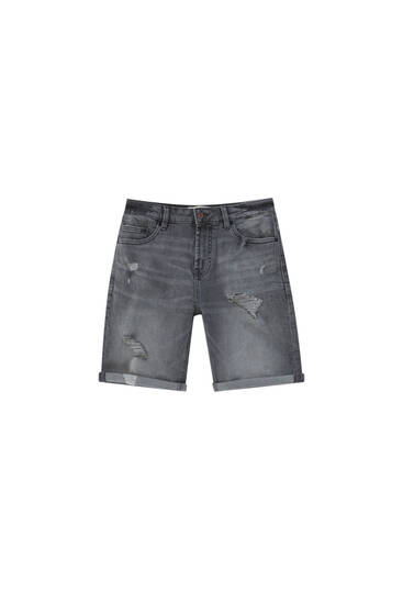 Ripped grey denim Bermuda shorts - with recycled cotton
