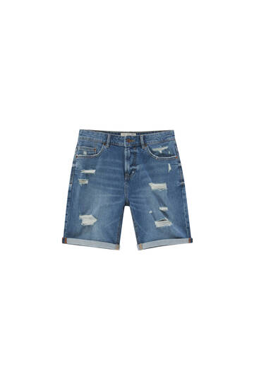 Ripped slim denim Bermuda shorts - contain recycled cotton