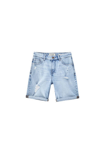 Ripped leg slim denim Bermuda shorts - Contains recycled cotton