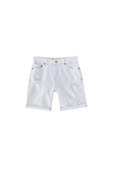 White ripped denim Bermuda shorts