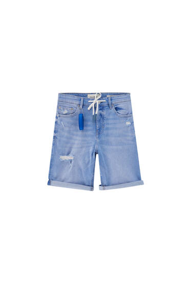 Blue skinny denim Bermuda shorts