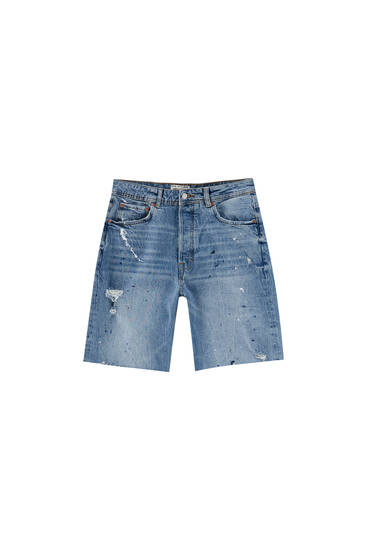 Loose fit paint splatter denim Bermuda shorts