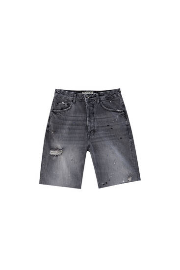 Loose fit denim bermudashort met dripping