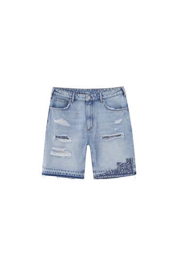 Paisley detail denim Bermuda shorts