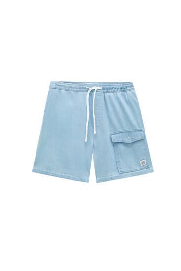 Loose fit cargo denim Bermuda shorts