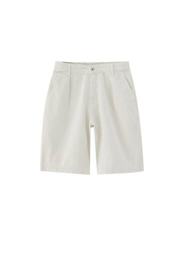 Balloon fit denim Bermuda shorts