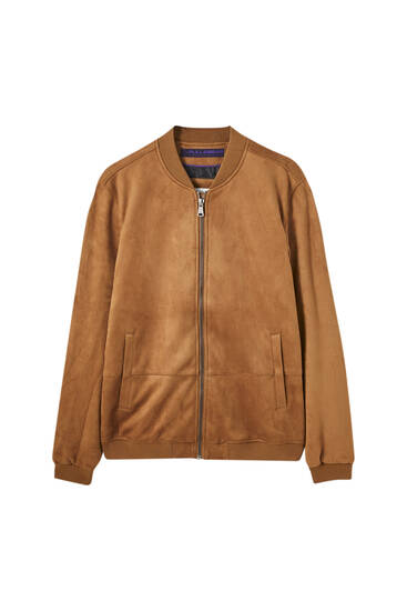Basic bomber jacket in faux suede
