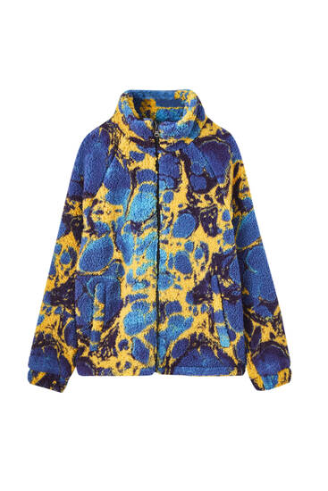 Multicoloured print teddy jacket