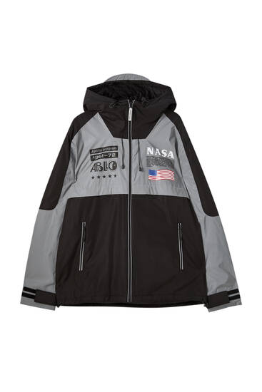 NASA raincoat with reflective detail