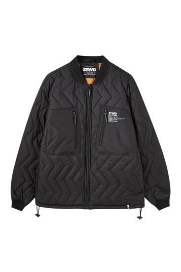 Zigzag puffer bomber jacket