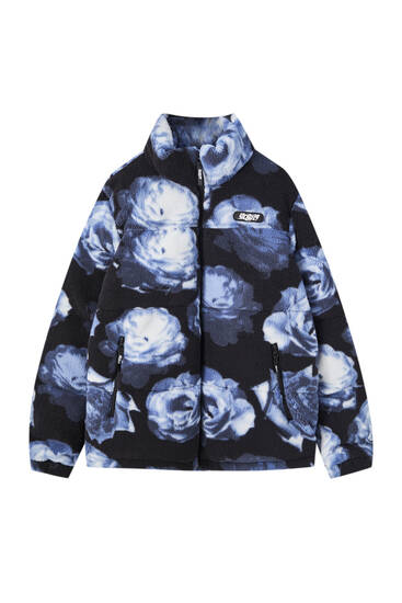 Faux shearling Sicko19 Sickonineteen puffer jacket with print