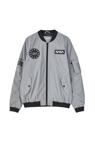 Reflective NASA lightweight bomber jacket
