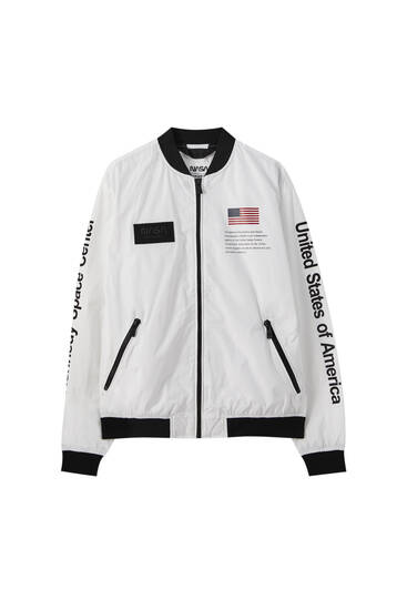 Lightweight fabric NASA bomber jacket