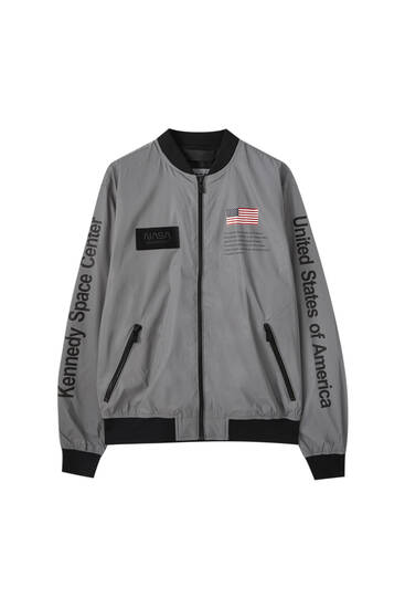Reflective NASA bomber jacket