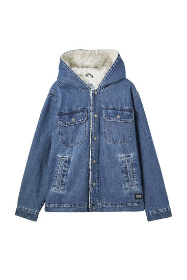Denim jacket with faux shearling lining and a hood