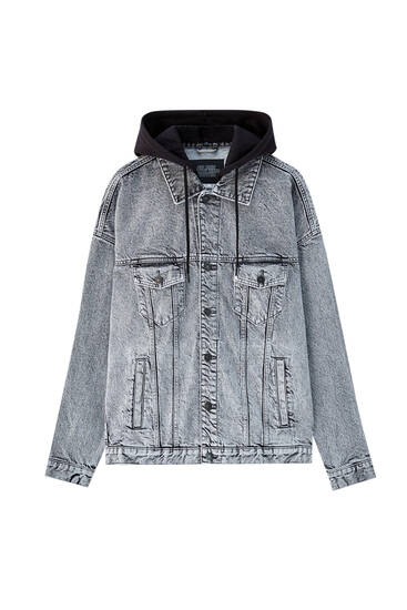 Oversized denim jacket with hood