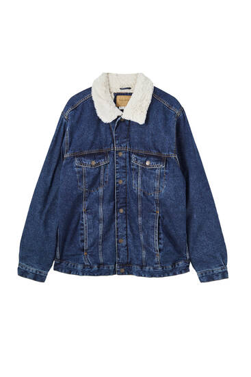 Dark blue denim jacket with faux shearling lining
